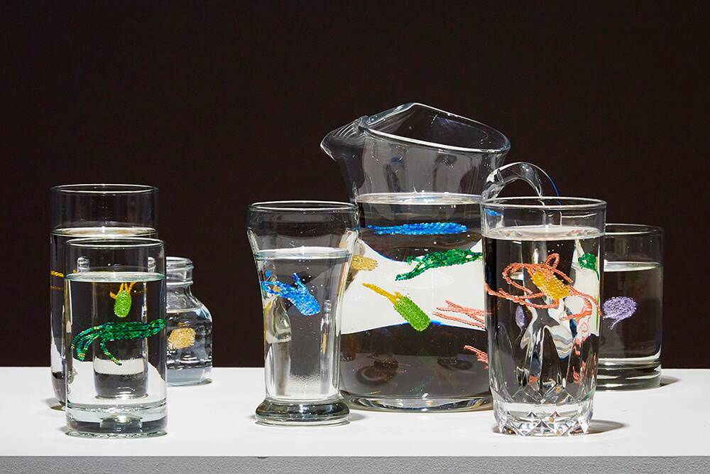 Ruth Cuthand (Canadian b. 1954) Boil Water Advisory #4 2016 glass beads, resin and found glassware Collection of Karen Schreiber