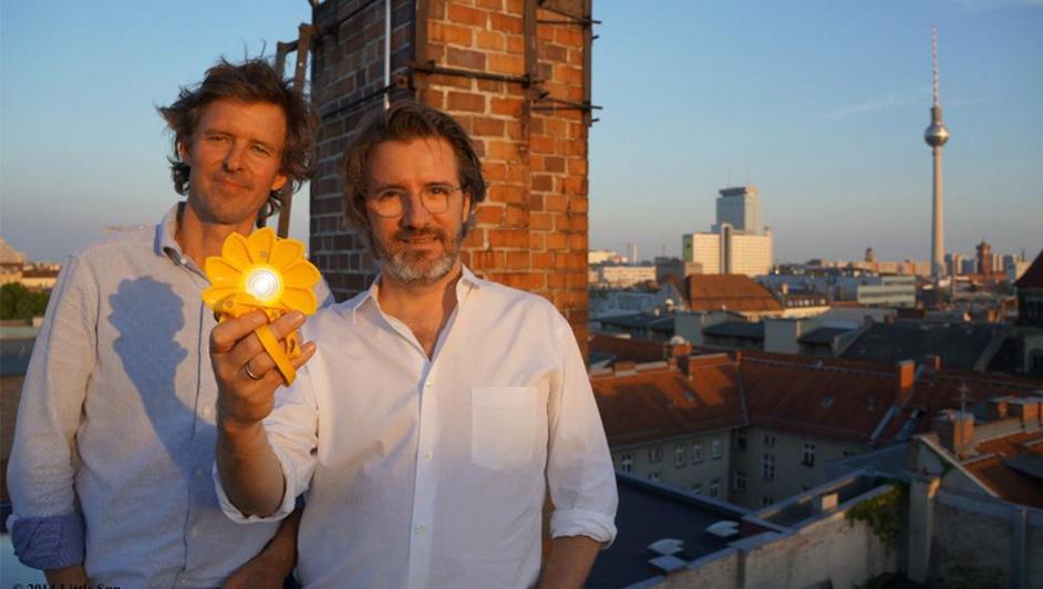 Olafur Elisson (right) with Little Sun co-developer, Frederik Ottesen (left).