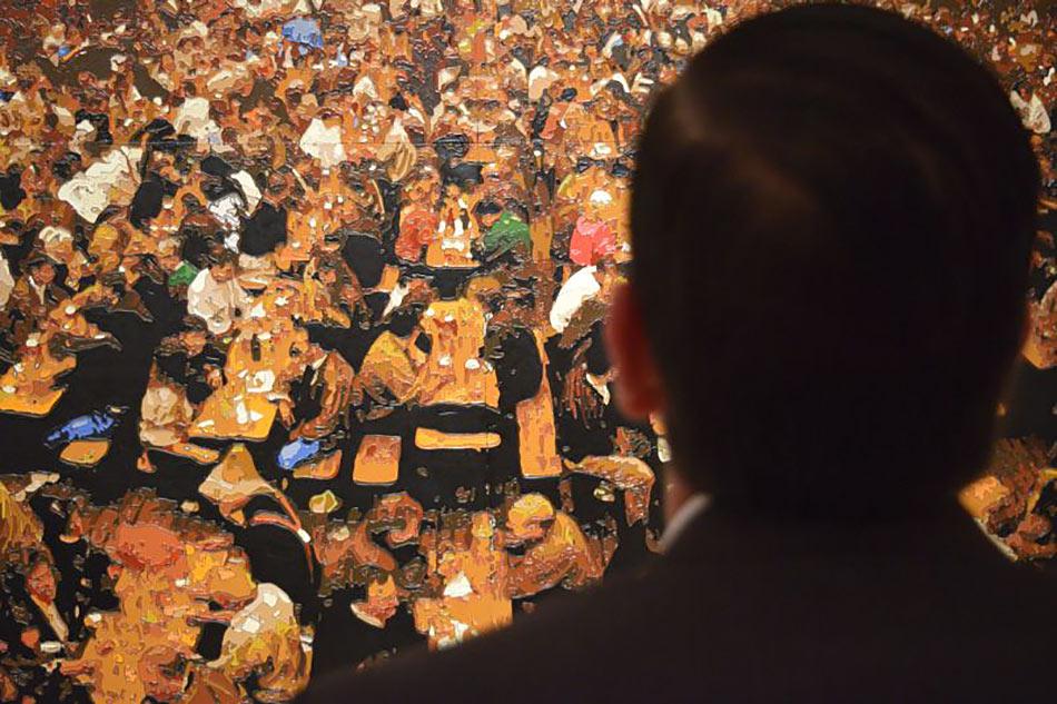 Viewing Dorian FitzGerald's Hacker-Pschorr Beerhall, Oktoberfest, Munich at the Art Gallery of Hamilton.