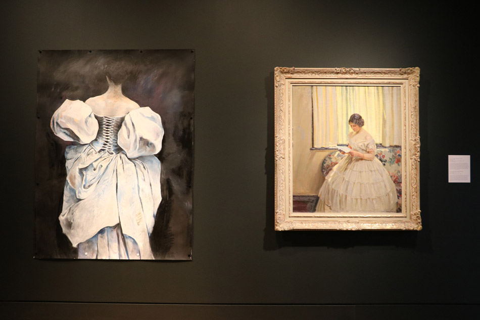 Left: Carolyn Samko (Canadian b. 1967), Gloriana, 1996, oil on paper. Purchased with funds from the Marie Louise Stock Estate, 1997 | Right: Helen McNicoll (Canadian 1879-1915), The Victorian Dress, c.1914, oil on canvas. Gift of A. Sidney Dawes, M.C., 1958