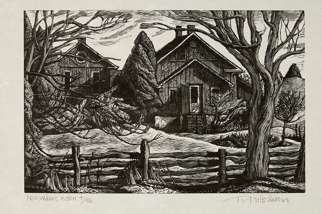 Rosemary Kilbourn (Canadian b. 1931), November Noon, 1984, wood engraving on paper ed. 4/50, Promised gift, 2018