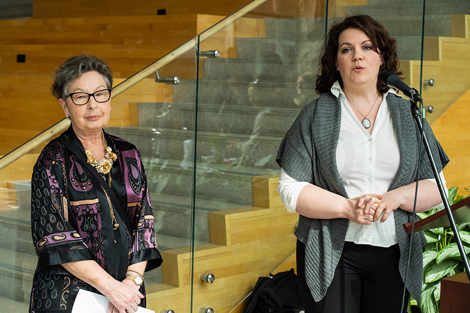 Janice and Laurie Kilgour-Walsh during the opening remarks at the reception