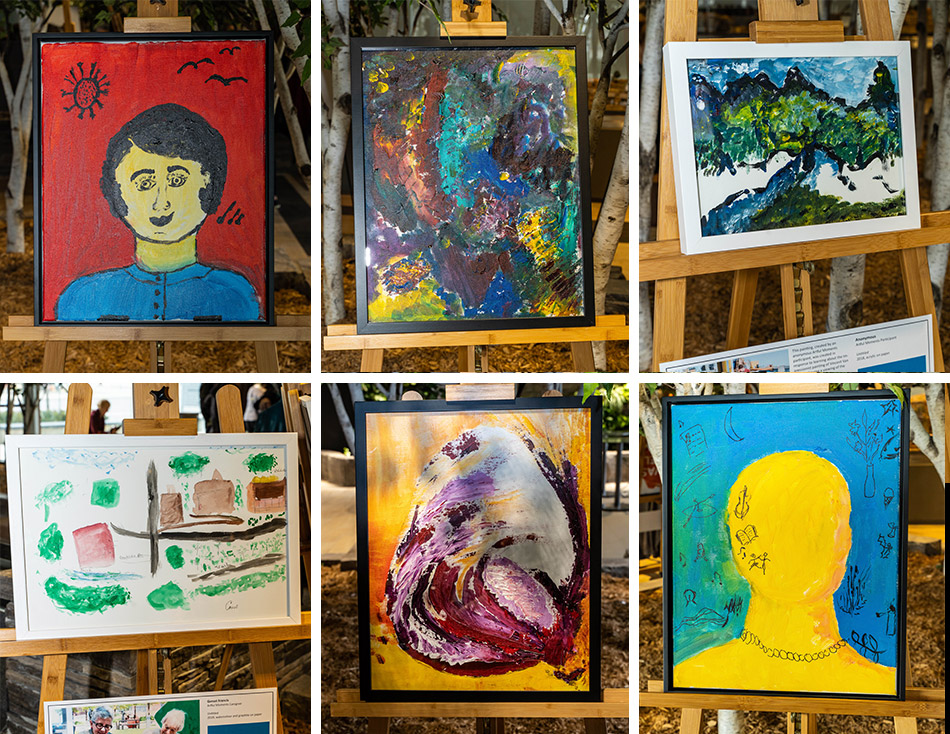 A sample of some of the work on display in Artful Moments: An Exhibition