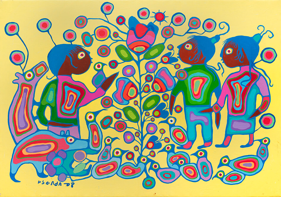 Fig. 1. Norval Morrisseau (Anishinaabe 1931–2007), Children with Tree of Life, ca. 1980–85, acrylic on canvas, 132.7 x 189.2 cm, Gift of Mr. Nicholas John Pustina, Mr. Robert Edward Zelinski, and Mr. Kenny Alwyn Whent, 1985.