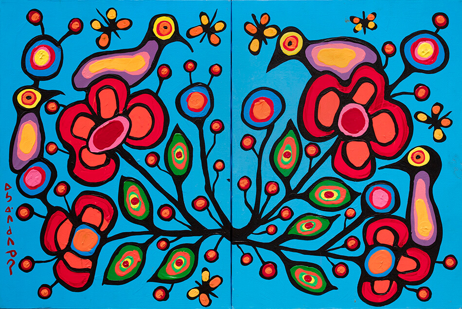 Fig. 2.  Norval Morrisseau (Anishinaabe 1931–2007), Floral Theme in Two Parts, ca. 1980–85, acrylic on canvas, 60.9 x 45.7 cm, Gift of Mr. Nicholas John Pustina, Mr. Robert Edward Zelinski, and Mr. Kenny Alwyn Whent, 1985.