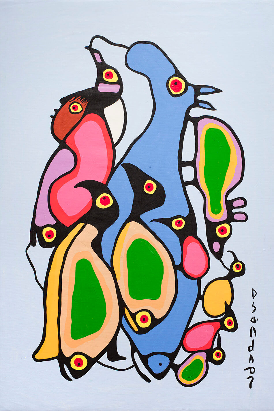 Fig. 3. Norval Morrisseau (Anishinaabe 1931–2007), Life Cycle, ca. 1980–85, acrylic on canvas, 134.6 x 91.4 cm, Gift of Mr. Nicholas John Pustina, Mr. Robert Edward Zelinski, and Mr. Kenny Alwyn Whent, 1985.