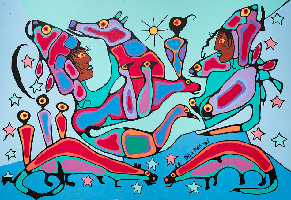 Fig. 4. Norval Morrisseau (Anishinaabe 1931–2007), Shaman and Apprentice, ca. 1980–85, acrylic on canvas, 135.2 x 189.2 cm, Gift of Mr. Nicholas John Pustina, Mr. Robert Edward Zelinski, and Mr. Kenny Alwyn Whent, 1985.