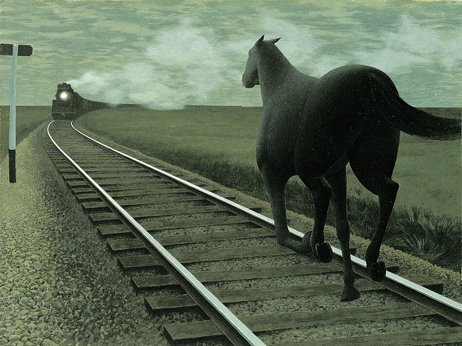 Alex Colville (Canadian 1920-2013), Horse and Train 1954, glazed oil on hardboard. Gift of Dominion Foundries and Steel, Ltd., 1957.